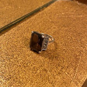Radiant Judith Jack Smoky Quartz Ring